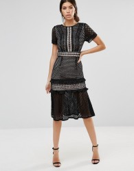 True Decadence Lace Midi Dress with Frill Detail - Black