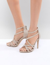 True Decadence Light Gold Sparkle Strappy Sandals - Gold