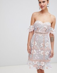 True Decadence Off Shoulder Embroidered Dress - Multi