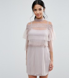 True Decadence Petite All Over Lace And Ruffle Pleated Mini Dress - Pink