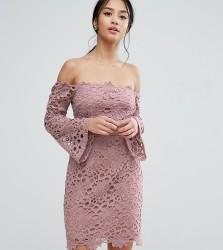 True Decadence Petite Bardot Cutwork Lace Mini Dress - Pink