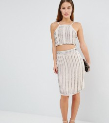 True Decadence Petite Embellished Midi Skirt Co-Ord - Silver