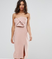 True Decadence Petite Exagerated Bow Detail Bandeau Midi Dress - Pink