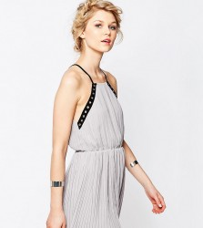 True Decadence Petite Eyelet Trim Chiffon Cami Dress - Black