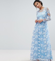 True Decadence Petite Premium 3D Lace Applique Maxi Dress - Blue