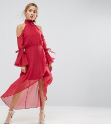 True Decadence Petite Premium Cold Shoulder Wrap Front Midi Dress With Fluted Sleeve Detail - Pink