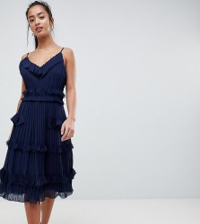 True Decadence Petite Premium Pleated Ruffle Skater Dress - Navy