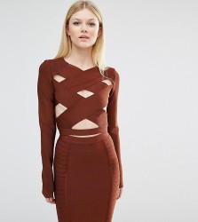 True Decadence Petite Wrap Front Bandage Crop Top - Brown