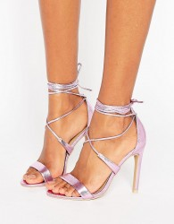 True Decadence Pink Metallic Ankle Tie Heeled Sandals - Pink