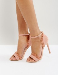 True Decadence Pleat Heeled Sandals - Pink