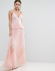 True Decadence Pleated Strappy Maxi Dress - Pink