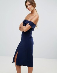 True Decadence Premium Bardot Scuba Pencil Dress With Knot Front Detail - Navy