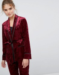 True Decadence Premium Crushed Velvet Tie Waist Suit Top - Red