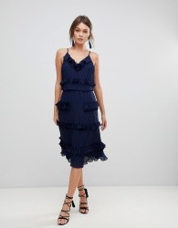 True Decadence Premium Pleated Ruffle Skater Dress - Navy