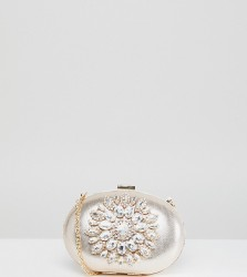 True Decadence Round Box Clutch Bag With Embellishment - Gold