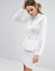 True Decadence Ruffle Detail Long Sleeve Blouse - White