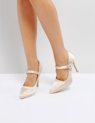 True Decadence Satin Pearl Detail May Jane Heeled Shoes - Pink