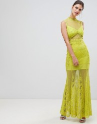 True Decadence Sheer Lace Maxi Dress With High Neck Detail - Green