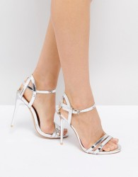 True Decadence Silver Metallic Strappy Heeled Sandals - Silver