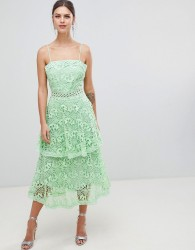 True Decadence Square Neck Cami Strap Midi Lace Dress With Ruffle Layered Skirt - Green