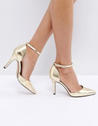 True Decadence Strap Point Gold Heeled Shoes - Gold