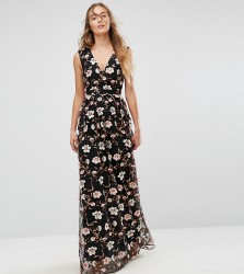 True Decadence Tall All Over Embroidered V Neck Maxi Dress - Multi
