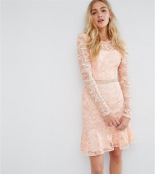 True Decadence Tall Allover Premium Lace Skater Dress With Fluted Hem - Pink