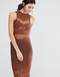 True Decadence Tall Bandage Midi Dress With Mesh Inserts - Brown