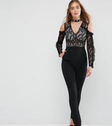 True Decadence Tall Cold Shoulder Lace Top Jumpsuit With Ruffle Sleeves - Black