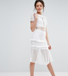 True Decadence Tall Cutout Lace Dress With Frill Hem - White