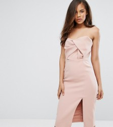 True Decadence Tall Exagerated Bow Detail Bandeau Midi Dress - Pink