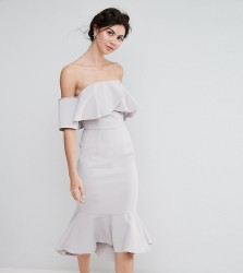 True Decadence Tall Exagerated Frill Bandeau Midi Dress With Peplum Hem - Grey