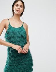 True Decadence Tall Fringe Layered Cami Mini Dress - Green