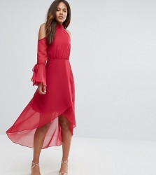 True Decadence Tall Premium Cold Shoulder Wrap Front Midi Dress With Fluted Sleeve Detail - Pink