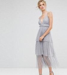 True Decadence Tall Premium Tulle Ruffle Layered Midi Dress With Strappy Back Detail - Grey