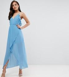 True Decadence Tall Wrap Cami Dress With Ruffles - Blue