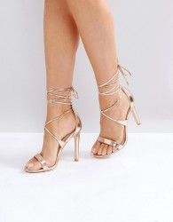 True Decadence Tie Up Heeled Sandals - Gold