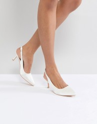 True Decadence White Satin Kitten Heeled Sling Back Shoes - White