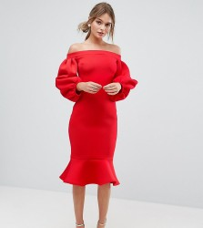 True Violet Balloon Sleeve Bodycon Dress With Pep Hem - Red