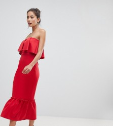 True Violet Bandeau Frill Midi Dress With Pephem - Red