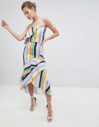 True Violet Bandeau Midi Dress With Frill Hem - Multi
