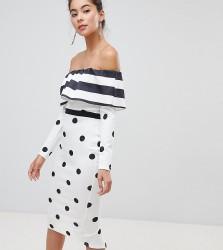 True Violet Bandeau Midi Dress With Frill - Multi