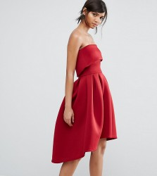 True Violet Bandeau Midi Skater Dress - Red