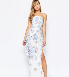 True Violet Bandeau Peplum Maxi Dress With Split In Print - Multi