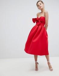 True Violet Bandeau Skater Dress With Bow Detail - Red