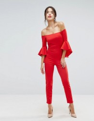 True Violet Bandeau Tailored Jumpsuit With Extreme Sleeve Detail - Red