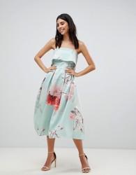 True Violet Bandeau Volume Midi Dress - Multi