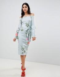 True Violet Bardot Dress With Flare Sleeves - Multi