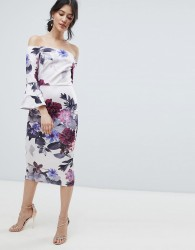 True Violet bardot midi dress with frill sleeve in foral print - Multi