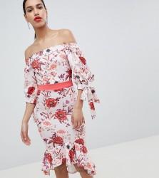 True Violet Bardot Midi Dress With Tie Sleeve & Pephem - Multi
